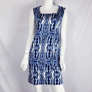 Ann Klein Dye Sheath Dress Square Neck Sz